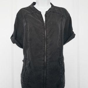 4/$25 Torrid | Gray Zip Utility Short Sleeve Top